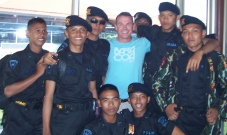 Paul with Indonesia Army Police