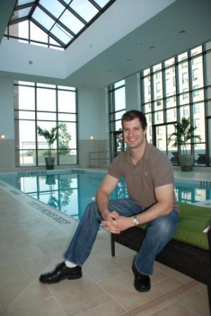 Trump Plaza buyer David Greenberg at Trump Plaza's spectacular indoor pool