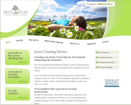 The new First Class Cleaning Website offers free green cleaning tips