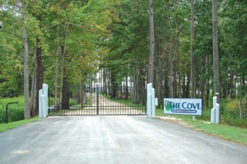 The private gated entrance to the COVE houseboat community.