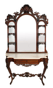 This pierce-carved rosewood rococo etagere by J.H. Belter will be sold Feb. 7.