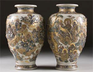 This gorgeous pair of Japanese Satsuma vases will cross the block June 13-14