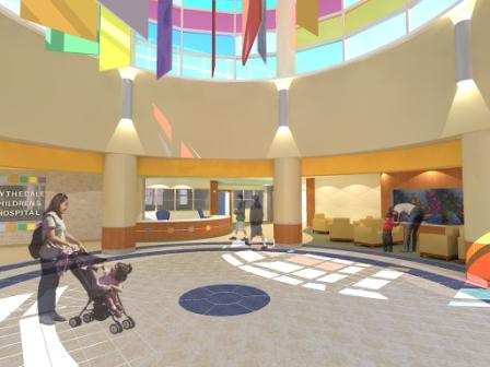 Architect's rendering of Blythedale's new lobby and rotunda