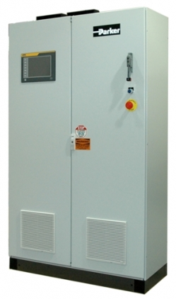 System cabinet containing grid tie inverter, yaw control, and HMI