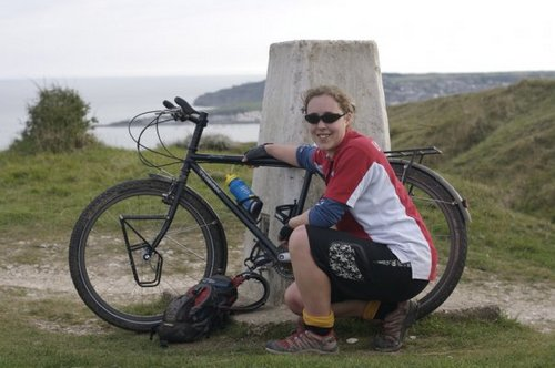 Helen on a test ride in Dorset with the bike she'll be cycling through Africa