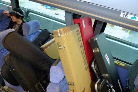 Tour Gig Bags on Tour Bus