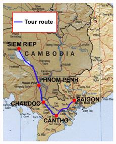 Mekong delta and Angkor tour map
