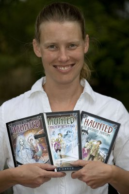 Childrens Book author Chris Eboch with her Haunted series