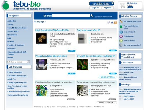 tebu-bio's new homepage
