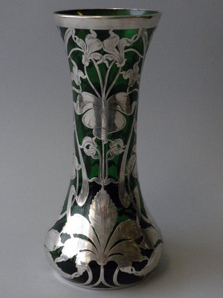 Rare Antique Green Glass Silver Overlay Vase Nelson And Nelson