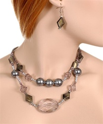 Fashion Pearl and Clear Bead Necklace