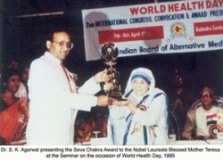 Mother Teresa being felicitated by the Indian Board of Alternative Medicine
