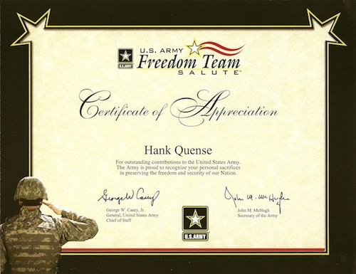 Author Hank Quense receives a Certificate of Appreciation from the – Army Certificate of Appreciation