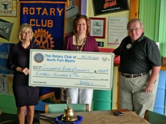 Lynn Pottorf (L) and Pat Smith (R) accept a check from Rotary's Deena Westberry