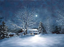 "Nancy Peach ""Winter Moon"" oil painting - available"