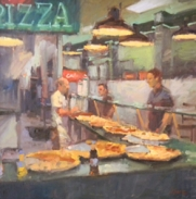 """Larry Moore """"One Slice or Two"""" oil on panel"""