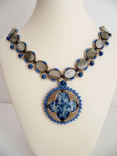 Sodalite, Swarovski Crystal, Lapis Lazuli, Sterling Silver