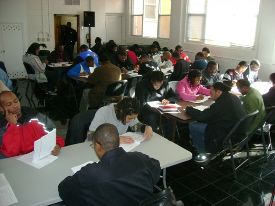 Students taking the placement test