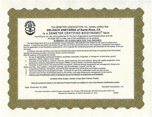 Certificate from Demeter
