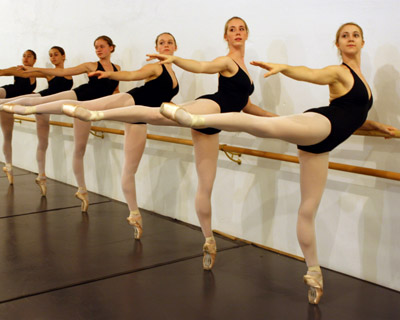 Students work on technique at the barre at California DanceArts dance academy