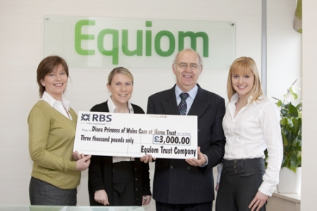 Equiom staff with Ron Spencer from Diana Princess of Wales Care at Home Trust