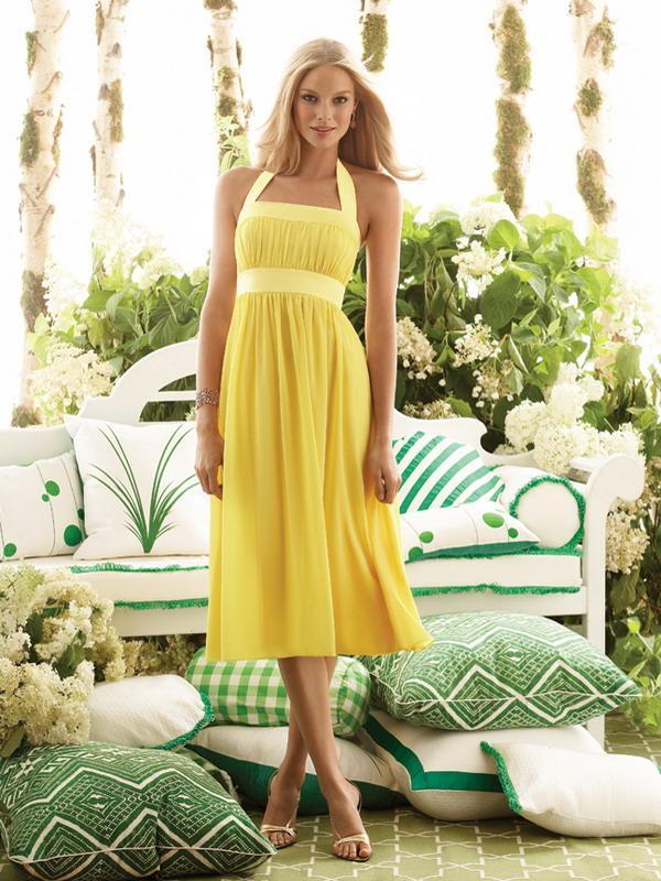 Yellow Halter Top Sleeveless Tea Length Chiffon Bridesmaid