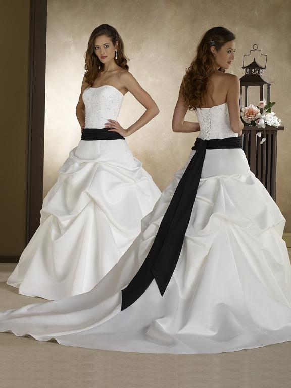 Black Wedding Dress With Train : Gown strapless sleeveless chapel train ruffles black sash satin bridal