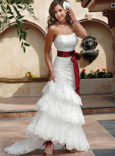 Mermaid strapless sexy cascading wedding dress white for Wedding dress belt sash