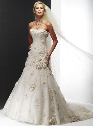 Wedding Dress Lace Flowers : Floral wedding dress chapel train applique satin tulle bridal