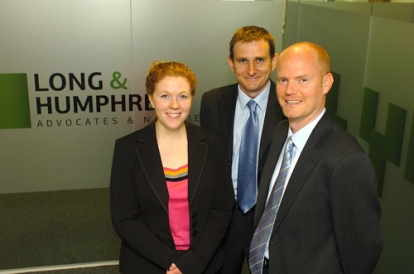 Mark Humphrey (centre) with advocate Shona Quayle and solicitor Stephen Savage