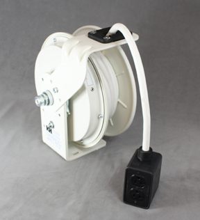White Power Cord Reel with White Cable