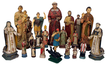 Examples from a selection of over 40 antique French colonial religious statues
