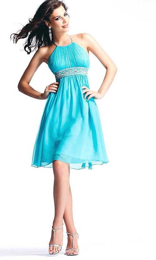 Straps short beaded sash chiffon prom dress zoombridal com prlog