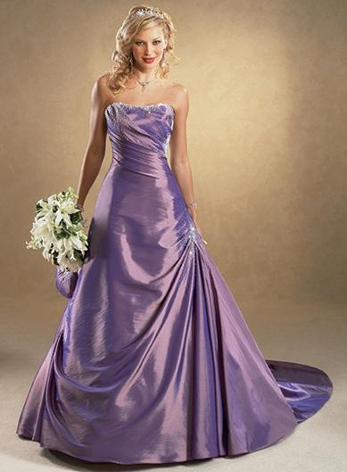 Purple A-Line/Princess Strapless Chaple Train Taffeta wedding ...