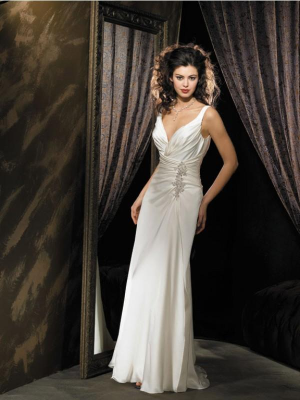 V Neck Straps Beaded Satin Chiffon Column Sheath Vintage Simple Wedding Dress Zoombridal