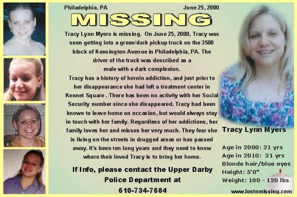 Tracy Lynn Myers age 31 in 2010 MISSING since 2000 PA