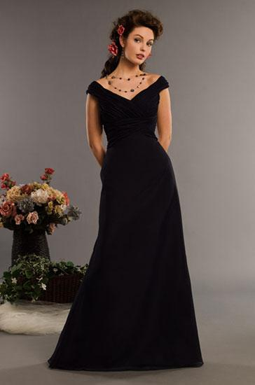 Black Off The Shoulder Full Length Chiffon Bridesmaid