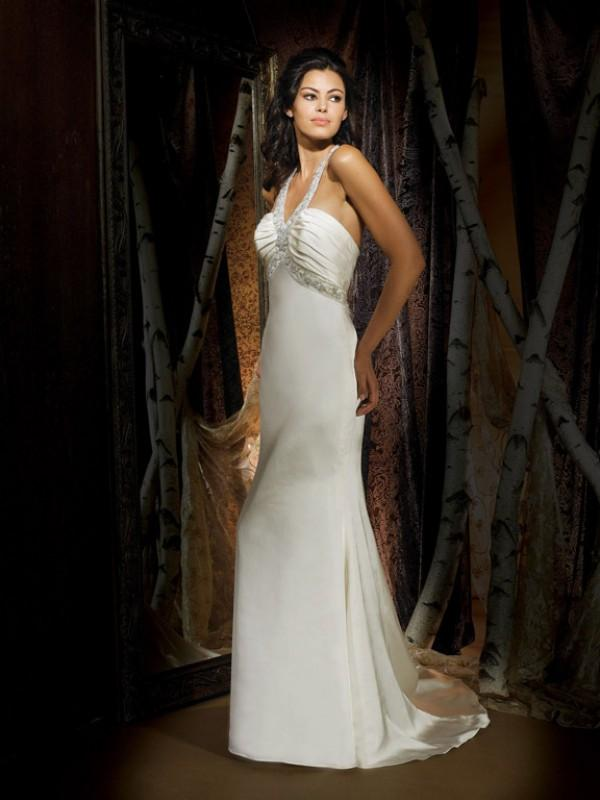 Halter Top Beading Satin Column Sheath Vintage Simple Wedding Dress