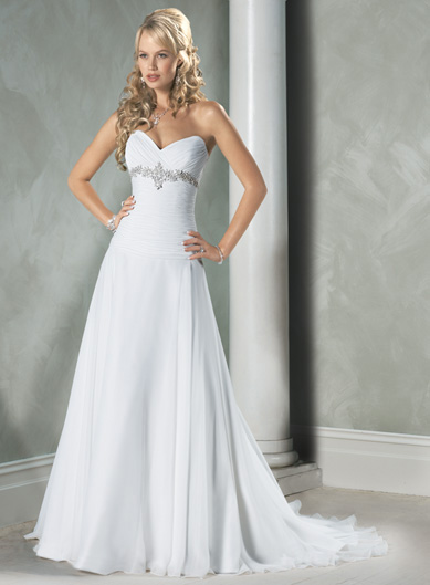White A Line Wedding Dresses : White sweetheart beaded chiffon a line princess wedding