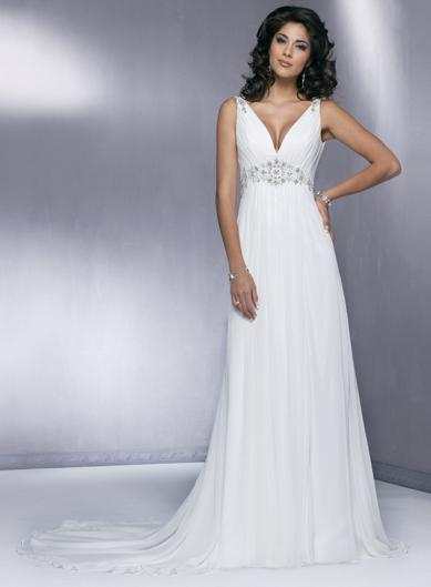 v neck elegant beaded chiffon sheath simple wedding dress