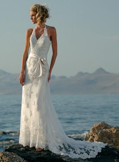 Halter embellished lace beaded satin sheath beach wedding for Hawaiian wedding dresses with sleeves