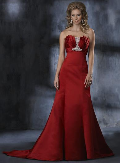 Beaded Lace Red Wedding Gown Zoombridal