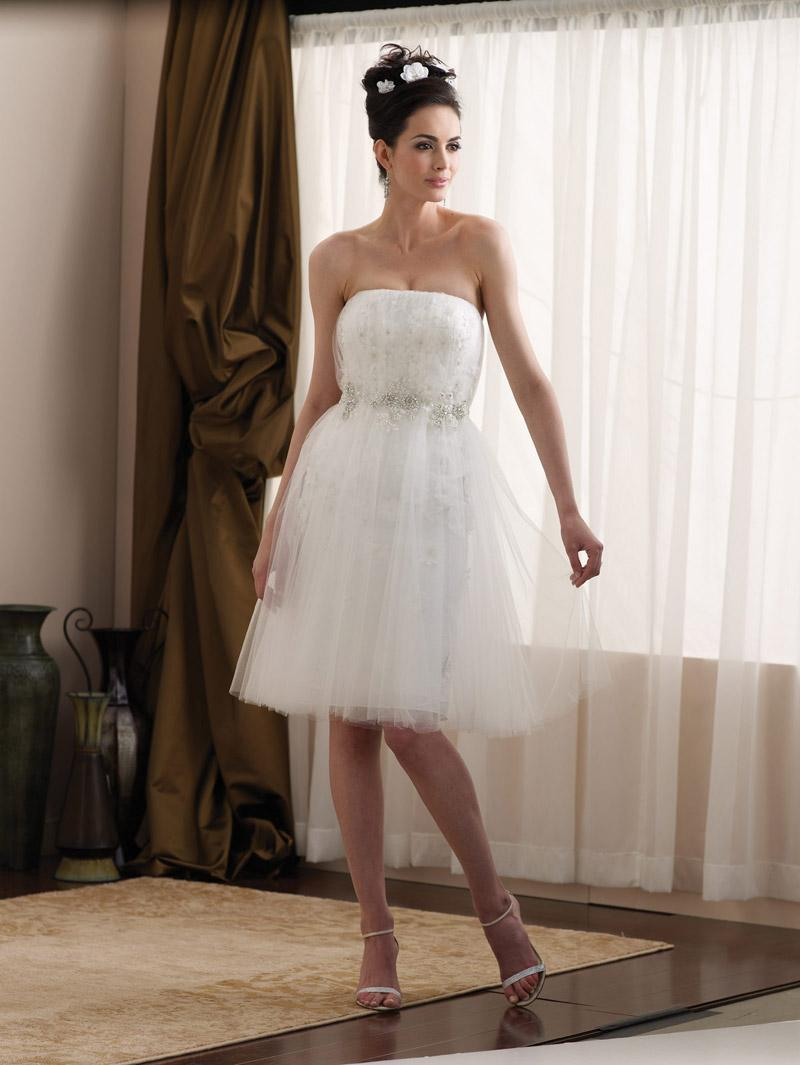 Short tea length taffeta tulle appliqu s informal wedding for Wedding dress for casual wedding