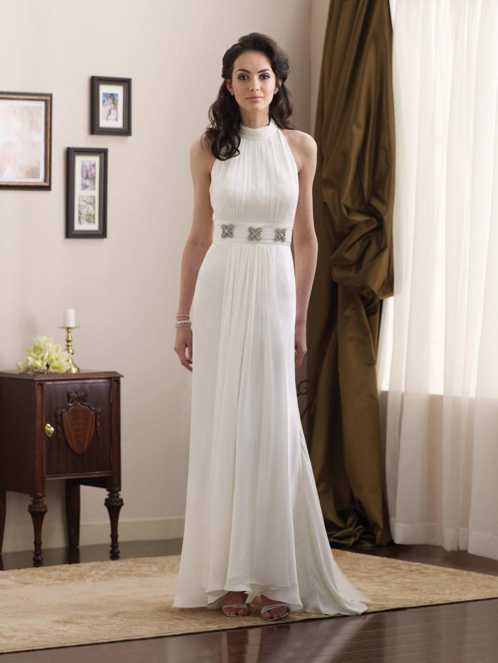 Simple high halter jeweled broach chiffon informal wedding for Simple casual wedding dresses