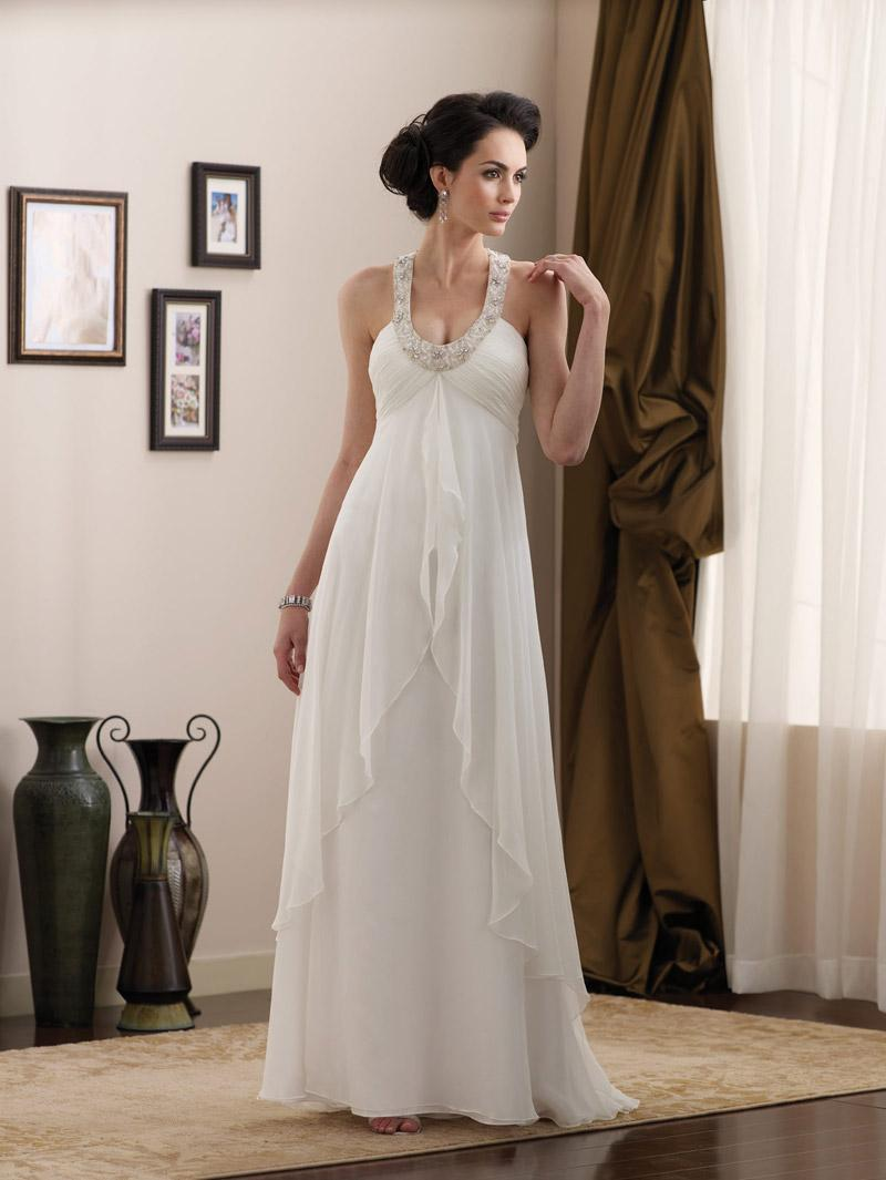 Simple full length scoop halter beaded chiffon informal for Simple casual wedding dresses