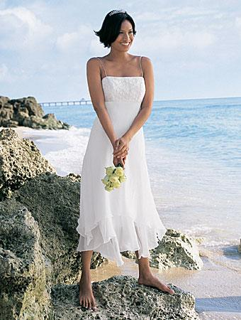 short tea length crystal beaded chiffon destination beach wedding