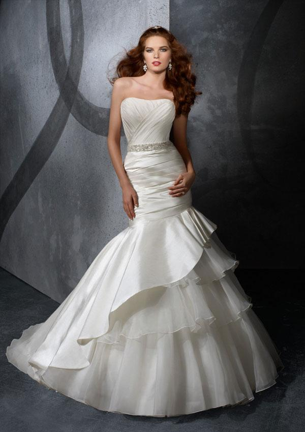 Taffeta Strapless Trumpet Wedding Dresses With Beaded Lace : Strapless beaded sash taffeta organza mermaid trumpet