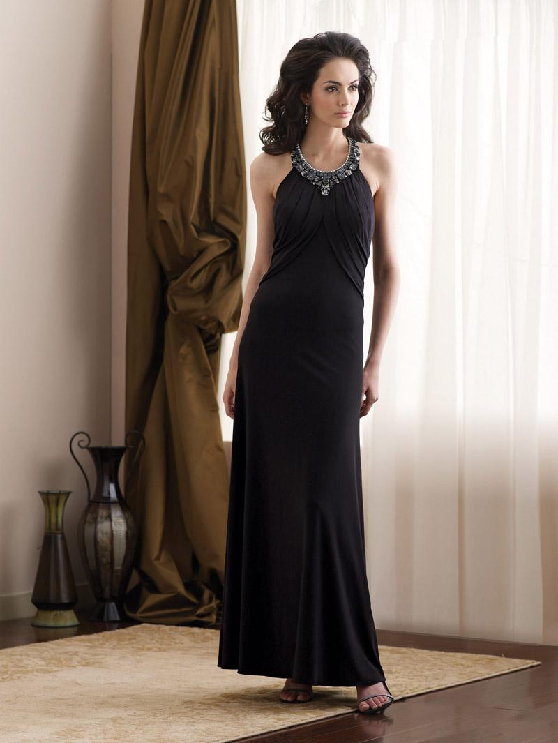Black halter full length jeweled informal wedding dress for Casual wedding party dresses