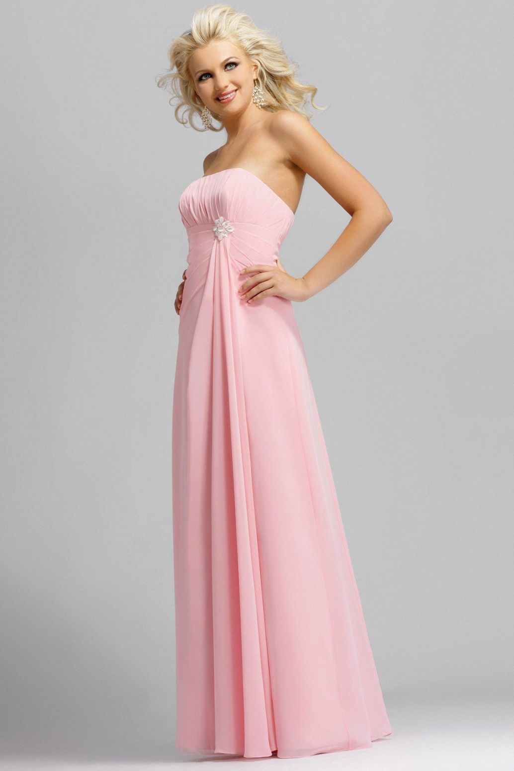 Pink Strapless Full Length Pearl Pleated Chiffon Satin