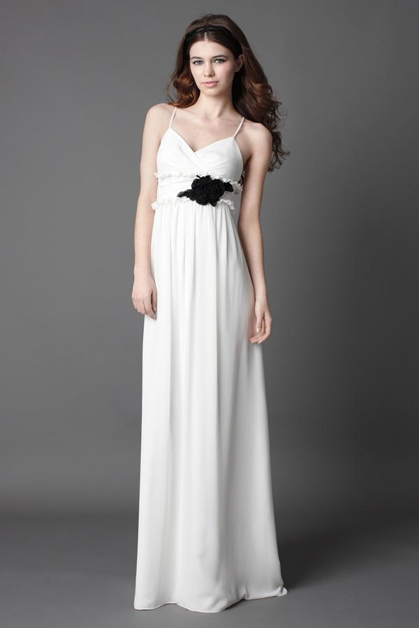 short black and white bridesmaid. White With Black Flower